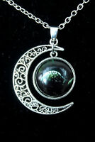 """""""ECLIPSE in the MOON"""" Fluorescent Galaxy Silver Alloy PENDANT NECKLACE"""