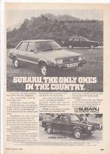 ORIGINAL  1980  MAGAZINE ADVERT FOR SUBARU4 WHEEL DRIVE MOTOR CAR
