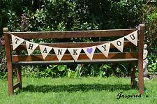 Thank You Black Bride Hessian Fabric Bunting Banner Rustic Shabby Chic Wedding