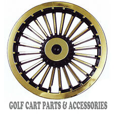 "Gold 8"" Golf Cart Hub Caps  - EZGO, CLUB CAR, YAMAHA Set of 4 Wheel Covers NEW"