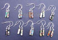 SALE Wholesale 10 Pairs multicolor Cloisonne Silver S925 column earrings-who108