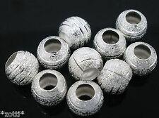 10 Stück silber Perle Beads 8 mm Fädelloch 3,8 mm kompatibel mit Armband  #