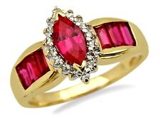 Women's 1.44 ct Natural Ruby & Diamond Gemstone Ring in 14k Solid Yellow Gold