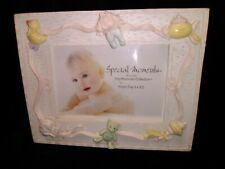 "Baby Girl Picture Frame - For 5"" x 3.5"" Photo - White With Pink Border"
