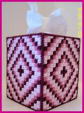 ROSE PINK WHITE BABY NURSERY HANDMADE PLASTIC CANVAS TISSUE BOX COVER TOPPER