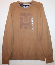 Tommy Hilfiger Mens Camel Brown TH Letterman Crewneck Sweater NEW $119 Size XL