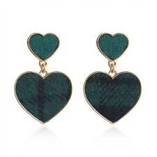 Green Tartan Heart  Earrings Statement Style Drop  New Season