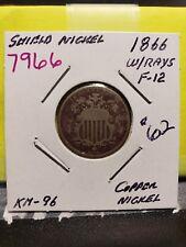 1866 w/Rays Shield Nickel 7966