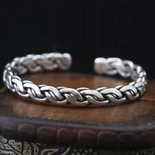 Solid 925 Sterling Silver Mens Knitted Open Torque Bangle Cuff Bracelet