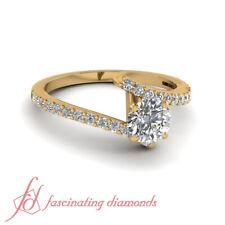 Pave Set Round Cut Diamond Yellow Gold Engagement Rings For Women GIA 3/4 Carat