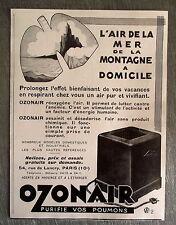 Publicité ancienne Ozonair purificateur d'air  1932