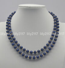 2 Rows Natural 8mm Blue Lapis Lazuli Round Gemstone Beads Necklaces 18-19'' AAA