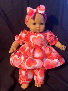 "Bitty Baby Doll Clothes Handmade 15"" Valentine Heart PJ's Headband"