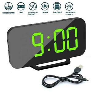Digital Clock Mirror LED Alarm Clock Night Light Thermometer USB Charging UK New