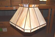 "EJS Ceiling TIFFANY Fixture Circa 1980 NEW Caramel Cream 17"" x 17"" Square Design"