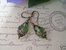 VINTAGE VICTORIAN THEMED EARRINGS - Steampunk Peridot