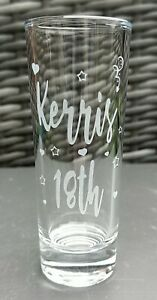 Engraved Birthday Shot Glass 18th,21st,30th,40th,50th, New, Personalised