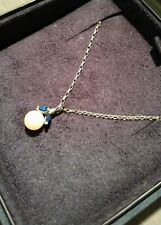 Blue Sapphire and Pearl White 9ct Gold Chain Necklace