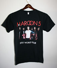 Womens Mens Maroon 5 2015 World Tour Black T-Shirt Short Sleeve Small S Usa