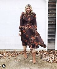 BNWT H&M Floral Print Chiffon Floaty Midi Dress Size UK 18 46 Sold Out Bloggers