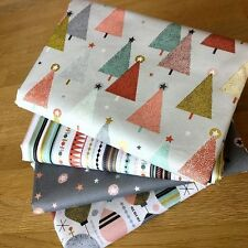 MODERN METALLIC CHRISTMAS Fat Quarter Bundle A Makower Fabrics Grey Pink Trees