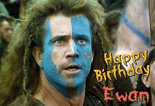 SCOTLAND Braveheart William Wallace Happy Birthday PERSONALISED ART Card Scotts