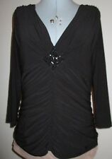 LADIES BLACK EVENING BEAD DETAIL DESIGNER TOP BY LIBRA SIZE 12 -SEE MEASUREMENTS