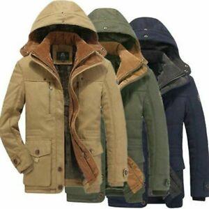 Mens Winter Warm Zip UP Fleece Thick Trench Parka Jackets Coats Winter XS-2XL
