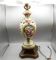 Vtg Capodimonte Table Lamp Porcelain Italy Garden of Eden Heraldic Dolphin Sign