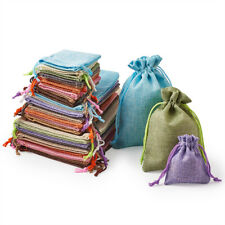 30pcs Mixed Burlap Packing Pouches Drawstring Jewelry Party Gift Bags 8.9~17.9cm