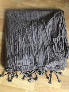 "DKNY Donna Karan Pure Stripe FULL / QUEEN Duvet Cover Gray Tie Close 92""x96"""