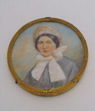 Fine Antique Hand Painted Metal Framed Female Miniature Portrait 1850