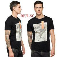 T-shirt uomo REPLAY manica corta girocollo maglietta nero stampa spiaggia M3010