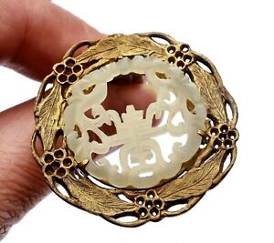 1930's Chinese White Jade Carved Plaque Silver Plated (NOT Silver) Pin Brooch 鍍銀