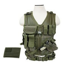 NcStar CTV2916G Tactical MOLLE LE WEB X-Draw Vest w/Pistol Holster& Patch OD