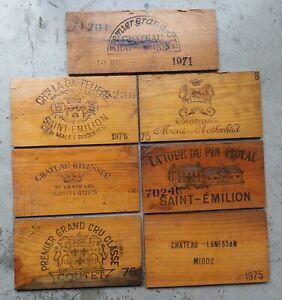 1970's Vintage French Wine Crate Panels x7 ~ Haut Brion ~ Mouton Rothschild etc