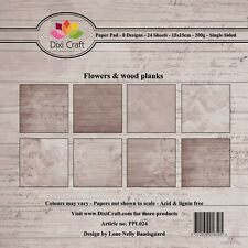 New Dixi Craft 15cm x 15cm Paper Pad Flowers and Wood Planks Brown