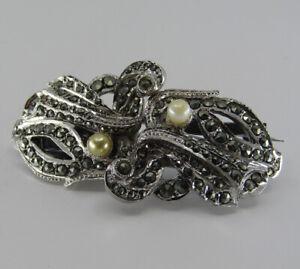 Art Deco Vintage Duette Brooch Clip Marcasite + Faux Pearl Silver Tone