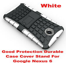 White Heavy Duty Strong Tradesman TPU Hard Case Cover Stand For Google Nexus 6