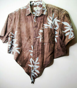 Island Shores Mens  XL Shirt - 55% linen 45% Cotton - Hawiian Graphic - Brown