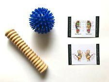 Touch Me Wooden Foot Roller Massager & Porcupine Massage Ball, Reflexology chart