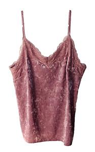 INC International Concepts Size M Mauve V Neck Lace Trim Velvet Camisole