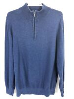 LL Bean Men's Blue L Quarter Zip Pullover Sweatshirt Jacket Sweater