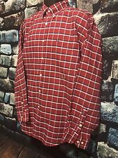TOMMY HILFIGER MENS BUTTON DOWN LONG SLEEVE RED CHECKERED SHIRT SIZE L