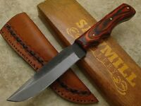 Sawmill Cutlery File Blade Fixed Blade knife with custom Leather sheath