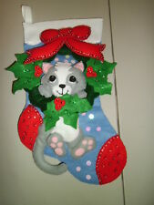 """1-Cat in Wreath 18"""" Christmas Stocking Finished & Ready to Hang! New & Handmade!"""