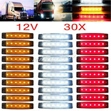 30pcs 12/24V 6 LED Red+White+Yellow Truck Trailer Side Marker Indicators Light