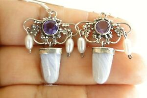Blue Lace Agate Amethyst Pearl 925 Sterling Silver Dangle Hook Earrings