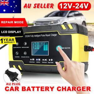 Car Battery Charger 12V/24V LCD Smart Battery Repair  Boat Caravan Truck