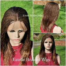 """Brown Braided Wig, Full Frontal Lace Wig With Baby Hair, Micro Twists Braids 14"""""""